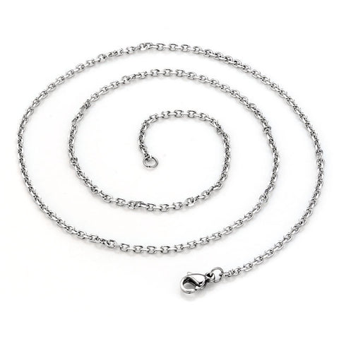 Unisex Silver 316L Stainless Steel Oval Chain Necklace Jewelry - Silver