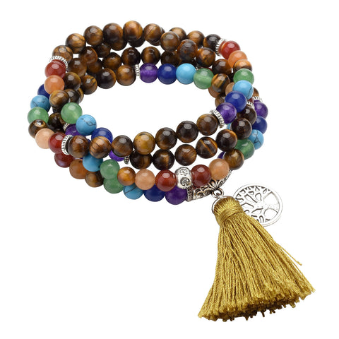 Tiger Eye 7 Chakra Healing Crystals Stretch Bracelet Necklace 108 Prayer Beads Tibetan Buddhist Buddha Meditation Stone