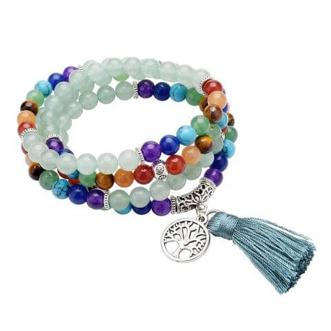 Green Aventurine 7 Chakra Healing Crystals Bracelet Necklace 108 Prayer Beads with Tree of Life Tassel Pendant