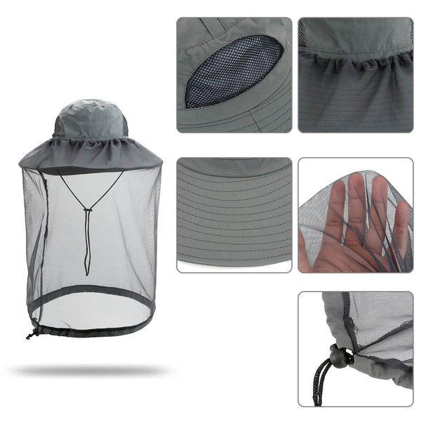 Ayliss Protective Head Net Hat, Outdoor Sun Hat with Removeble Mesh Net for Gardening Travel Climbing
