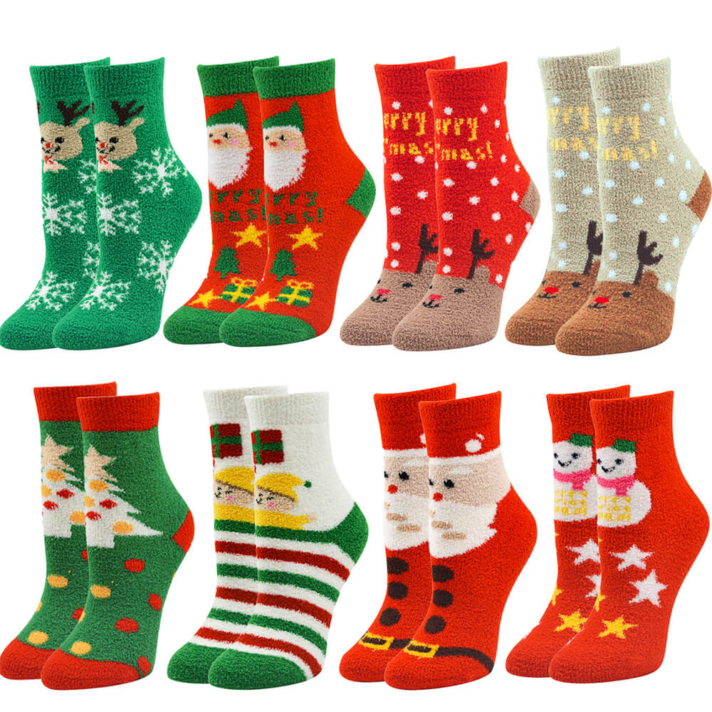 Ayliss 8pairs Womens Christmas Socks Fuzzy Plush Slipper Socks Winter Warm Fluffy Cozy Stockings