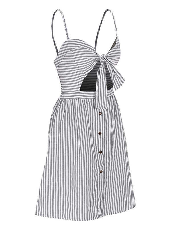 Women Dresses Spaghetti Strap Front Cut Out Striped Dress Tunic Dress