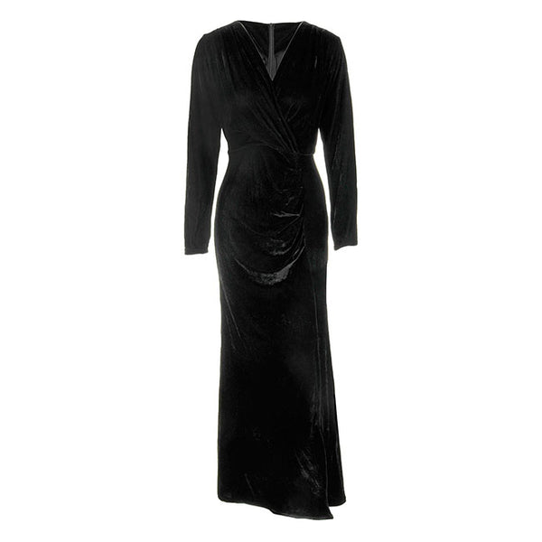 Women's V Neck High Waist Velvet Maxi Dress