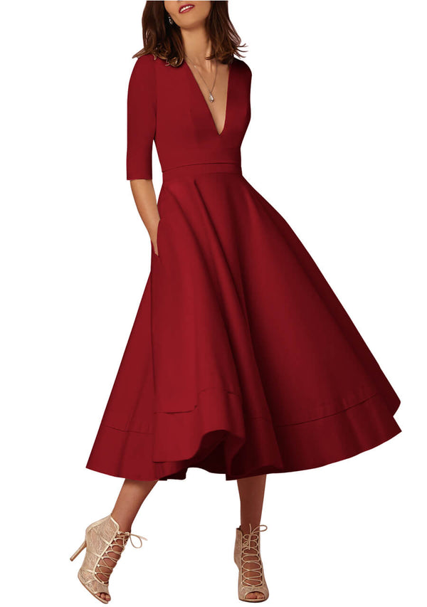 Ayliss Women Elegant Swing Dress Plunge Neck Half Sleeve Party Maxi Dress with Pockets