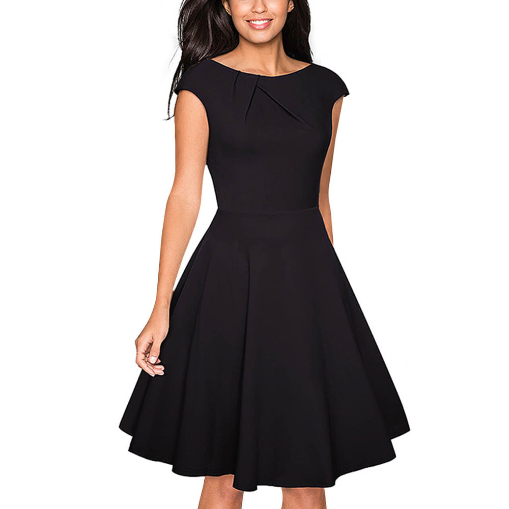 Ayliss Women Vintage A Line Dress Cap Sleeve Scoop Neck Flare Dress