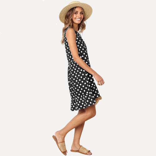 Ayliss Sleeveless Ruffle Polka Dot Printed Swing Sundress with Pockets