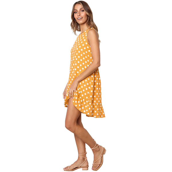 yca030609 ayliss yellow and white dot summer sleeveless sundress