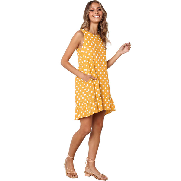 yca030609 ayliss yellow polka dress for women summer casual dress