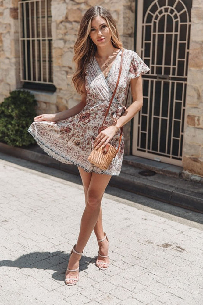 Ayliss Women Bohemian Floral Print Wrap Mini Dress V Neck Ruffle Hem A Line Swing Dress