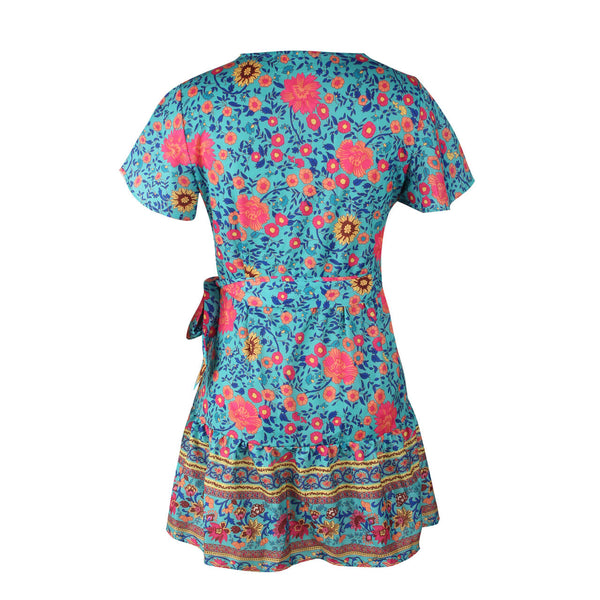 Ayliss Women Bohemian Floral Print Warp Mini Dress Plunge V Neck Ruffle Hem A Line Swing Dress