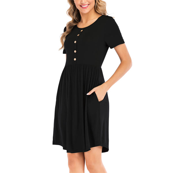 Ayliss women cotton casual short sleeve t-shirt dress for summer outdoor