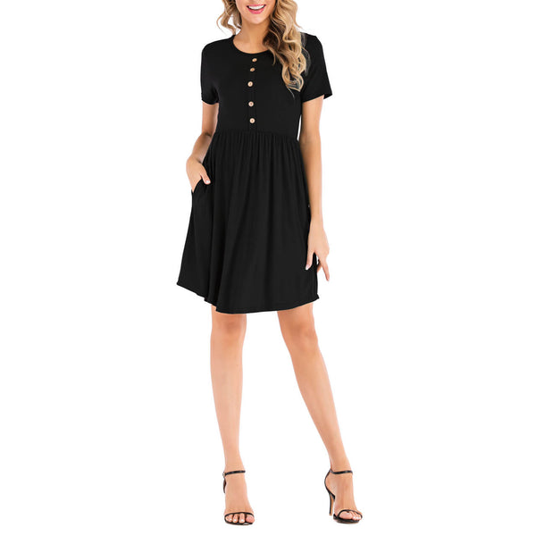 Ayliss women summer casual plain round neck t-shirt dress
