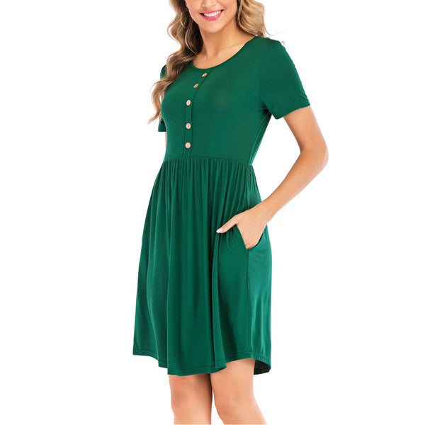 Ayliss women green t-shirt dress for summer
