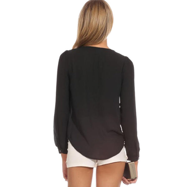 Women Sexy Zipper V-neck Long Sleeve Chiffon Blouse Shirt