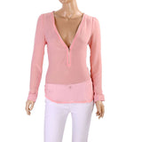 Women Sexy Zipper V-neck Long Sleeve Chiffon Blouse Shirt Top