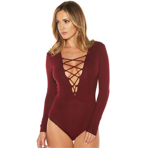 Women Basic Long sleeve Bodysuit Deep V Lace-Up Siamese Tops