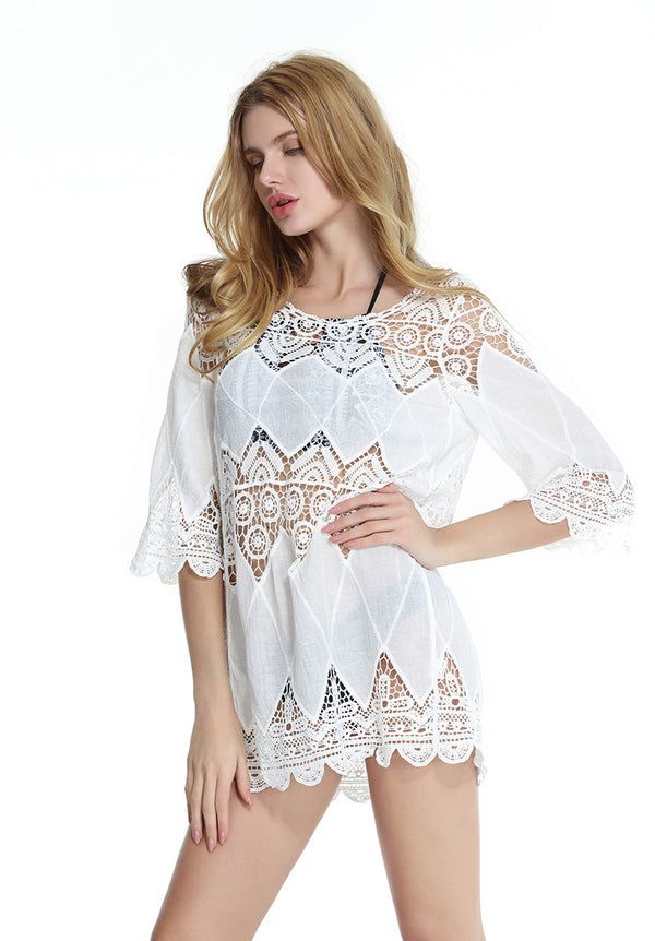 Women Beach Cover Up Lace Crochet Dress for Swim Beachwear White/One Size