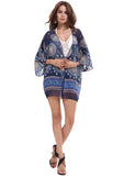 Women's Soft Chiffon Printed Beach Cover up Kimono Cardigan