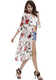 Women's Soft Chiffon Rose Printed Beach Cover up Kimono Cardigan