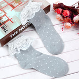 Teen Girl Lack Socks with Dots Cotton Ankle Socks - 2 Pairs