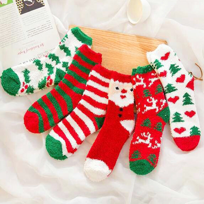 Women Christmas Fuzzy Socks Winter Holiday Warm Socks Plush Slipper Socks 6 Pairs