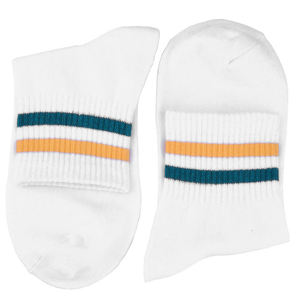 Men's Striped Quarter Athletic Cotton Socks - 4 Pairs