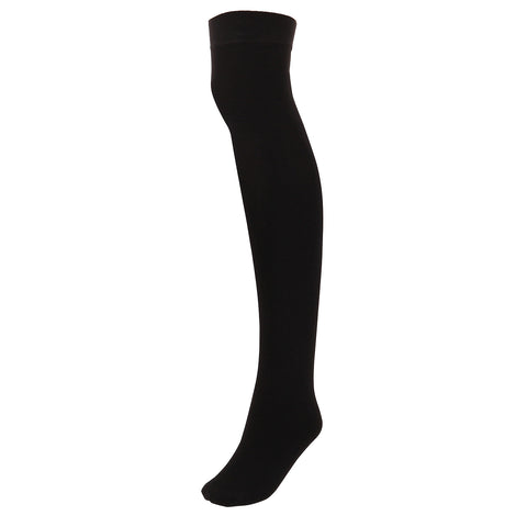Women's Black Thigh High Socks Stretch Over the Knee Socks