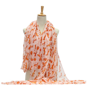 Ladies Scarf Fox Printing Lightweight Scarf Wrap - Red in White