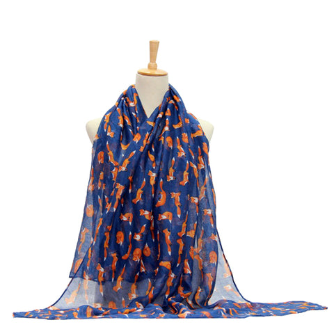 Ladies Scarf Fox Printing Lightweight Scarf Wrap - Navy Blue