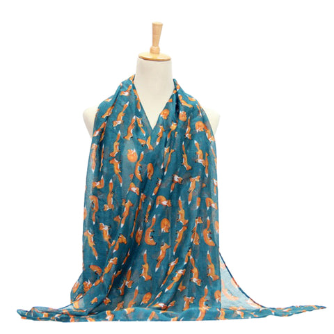 Ladies Scarf Fox Printing Lightweight Scarf Wrap - Cyan