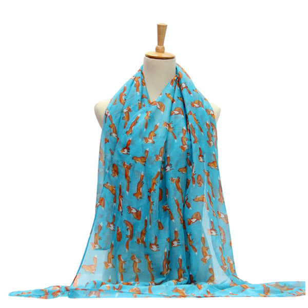 Ladies Scarf Fox Pattern Lightweight Scarf Wrap - Blue