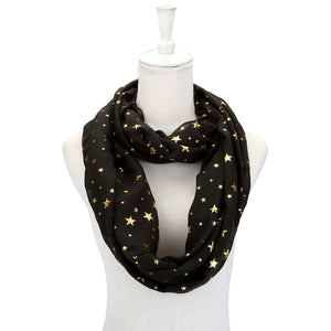 Women Star Pattern Lightweight Head Pashmina Wrap Scarf - Black