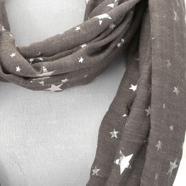 Women Ladies Star Pattern Lightweight Head Pashmina Wrap Scarf - Brown