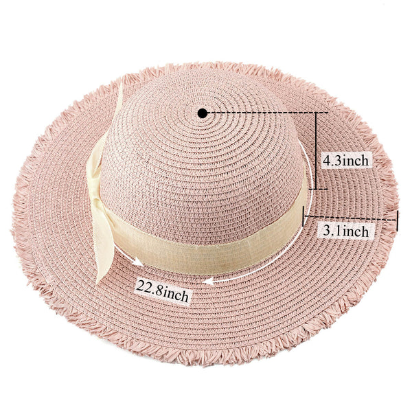 Ayliss Women Sun Beach Hats Wide Brim Bowknot Straw Hat Floppy Foldable Cap Sun Hat UPF 50+
