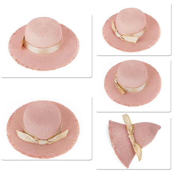ycf027103 Women Sun Beach Hats Wide Brim Bowknot Straw Hat Floppy Foldable Cap Sun Hat UPF 50+