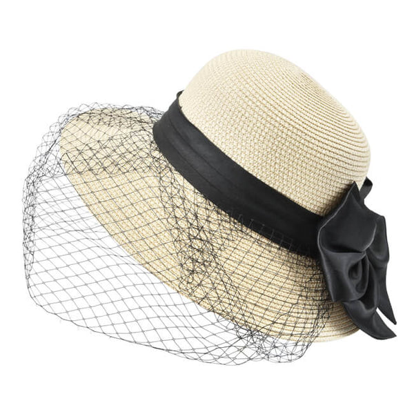 Bowknot Wide Brim Straw Hat