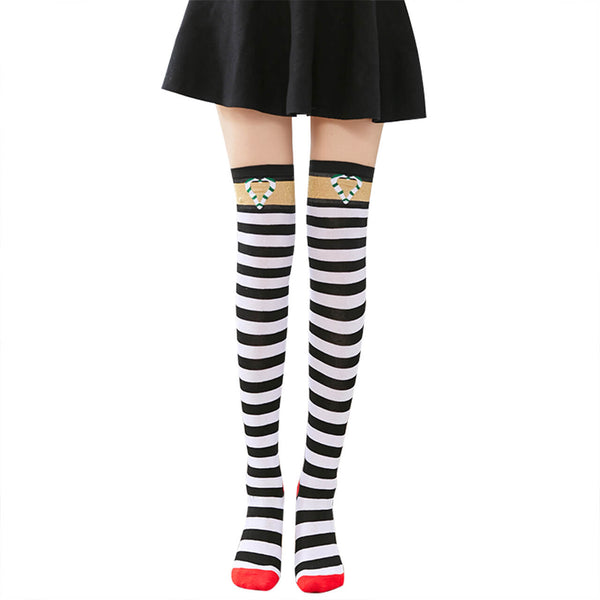 Ayliss Women Striped Over Knee Thigh High Socks Cute Star Polka Dot Pattern Halloween Christmas Cosplay