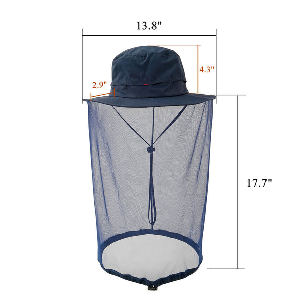 Ayliss Mosquito Head Net Hat, Safari Hat Sun Hat Bucket Hat with Hidden Net Mesh Protection from Insect Bug Bee Gnats for Outdoor