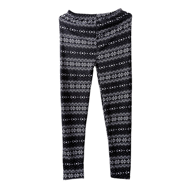 Women's Snowflake Print Knitted Leggings Slim Fit Tights Pants - Black