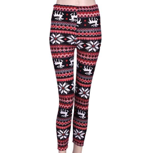Ayliss Women's Winter Knitted Leggings Snowflakes Reindeer Print Tight Pants workout pants
