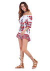 Women Summer Off Shoulder Floral Print Casual Jumpsuit