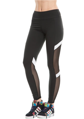 Women Yoga Leggings Active Mesh-Insert Stretchy Workout Gym Sports Pants