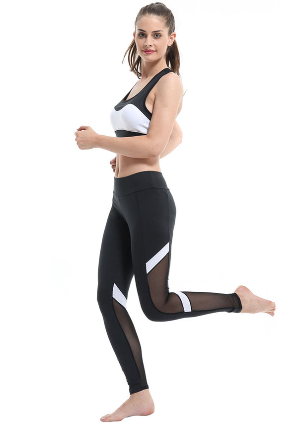 Women Yoga Leggings Mesh-Insert Stretchy Workout Pants