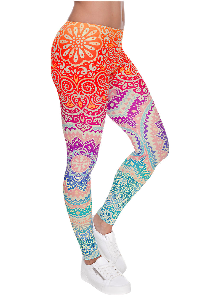 Ayliss Women Printed Stretch Leggings Elastic Pants Mandragora Printed