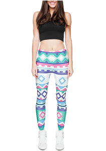 Ayliss Women Printed Stretch Leggings Elastic Pants Multi-Printed Light Blue