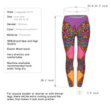 Ayliss Women Printed Stretch Leggings Elastic Pants Purple Flower Pattern