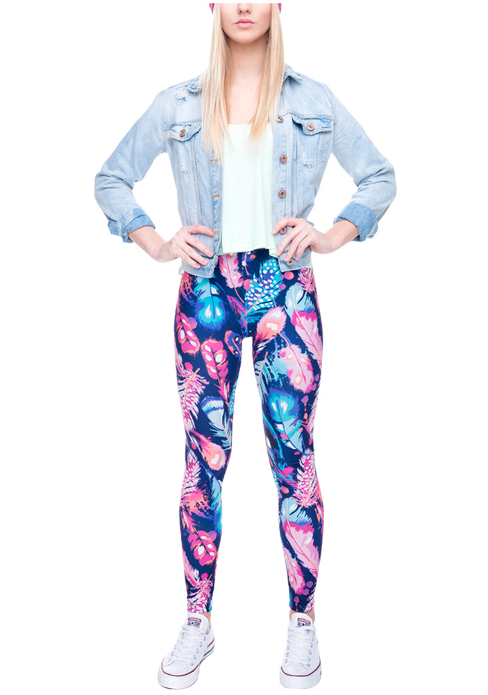 Ayliss Women Printed Stretch Leggings Elastic Pants Blue Feather Prints