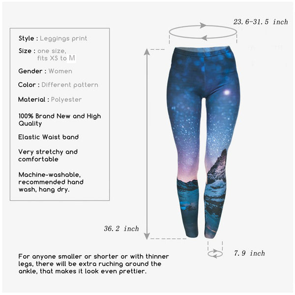 Ayliss Women Printed Stretch Leggings Elastic Pants Star Prints