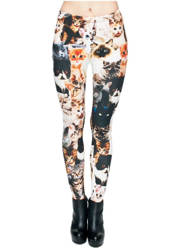 Ayliss Women Printed Stretch Leggings Elastic Pants Cat