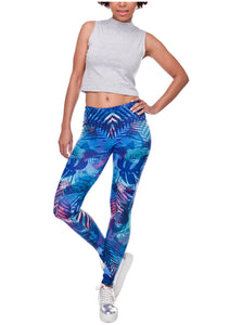 Ayliss Women Printed Stretch Leggings Elastic Pants Leaf Prints